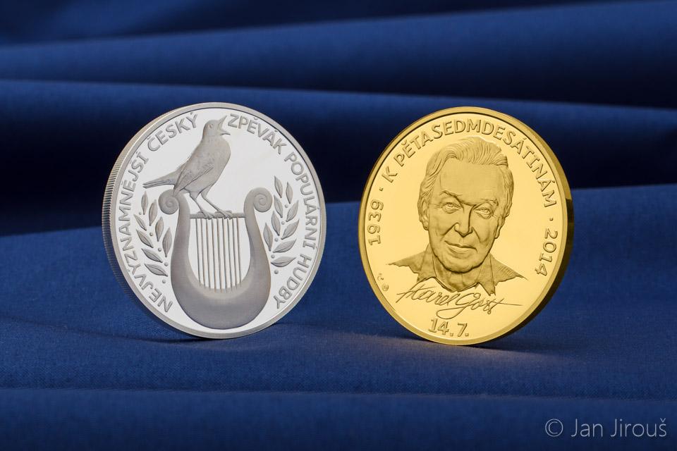 Stříbrná a zlatá medaile Karel Gott 75 proof