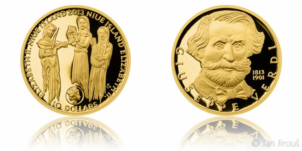 Zlatá půluncová mince 10 NZD Giuseppe Verdi proof